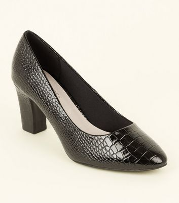 Black Comfort Flex Faux Croc Courts