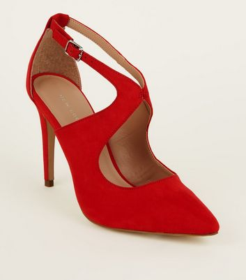 Red Suedette Cut Out Heels