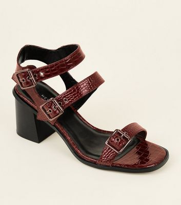 Wide Fit Dark Red Patent Faux Croc Buckled Sandals