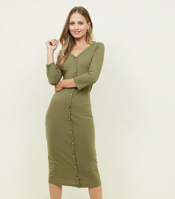 Khaki Ribbed 3/4 Sleeve Button Through Midi Dress