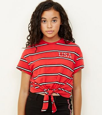 Girls Red Stripe USA Logo Tie Front T-Shirt