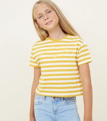 Girls Yellow Stripe New York Slogan T-Shirt