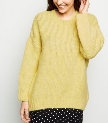 Yellow Fluffy Crew Neck Jumper