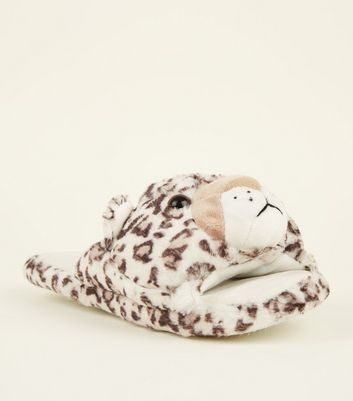 Stone Faux Fur Leopard Slider Slippers
