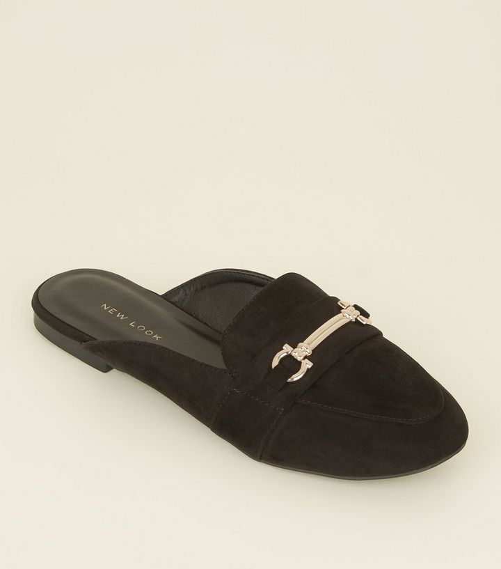 a37fa8963f453 Black Suedette Bar Front Loafer Mules | New Look