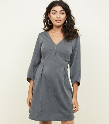 Mela Dark Grey Pinstripe V-Neck Dress