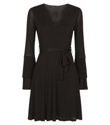 Mela Black Bell Sleeve Tie Front Dress New Look