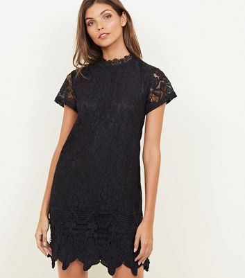 Mela Black Lace Crochet Border Hem Dress