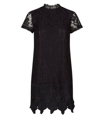 Mela Black Lace Crochet Border Hem Dress New Look