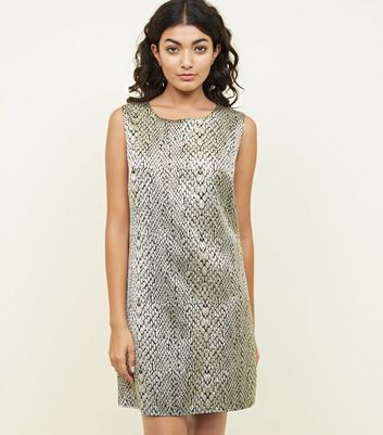 Mela Gold Snake Print Shift Dress