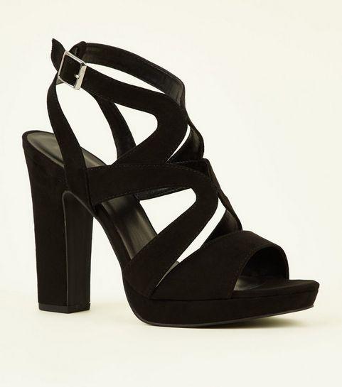 5c31af327e6ef2 ... Black Suedette Strappy Platform Block Heels ...