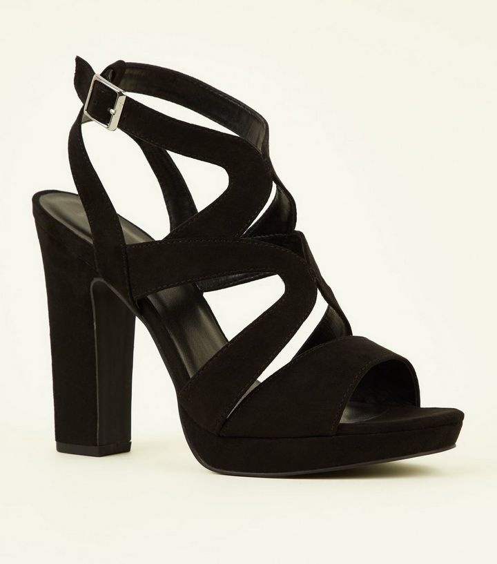 e028a81efcb Black Suedette Strappy Platform Block Heels