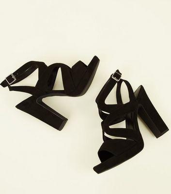 shop for Black Suedette Strappy Platform Block Heels New Look Vegan at Shopo
