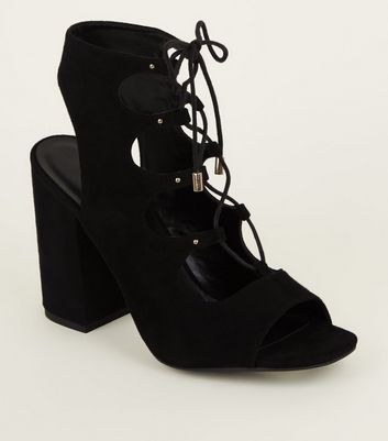 Black Suedette Peep Toe Ghillie Lace Up Sandals