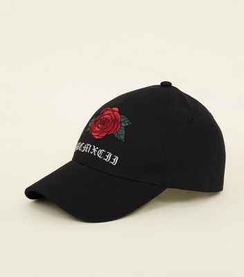 Black Large Rose Slogan Embroidered Cap