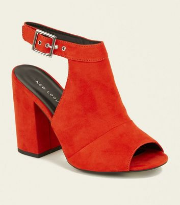 Orange Buckle Ankle Strap Open-Back Peep Toe
