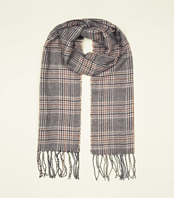 6a15fb0f8dc98 Mink Check Thin Scarf   New Look