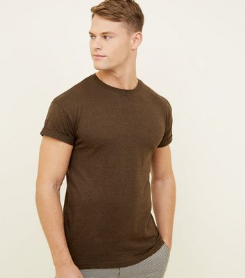 Khaki Marl Rolled Sleeve T-Shirt