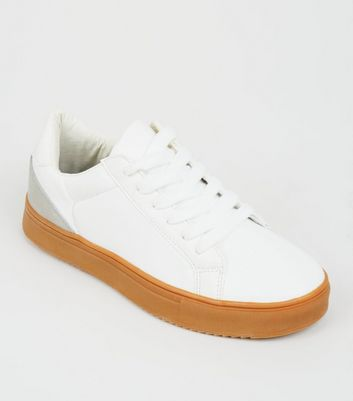 Girls White Leather-Look Gum Sole Trainers