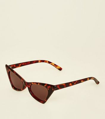 Dark Brown Tortoiseshell Print Cat Eye Sunglasses