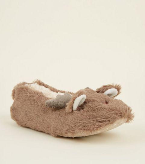 8cec02cfb52ff3 ... Light Brown Faux Fur Reindeer Slippers ...