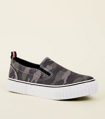 Green Camo Print Chunky Slip On Trainers
