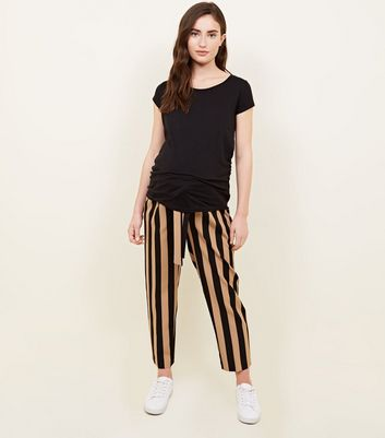 Maternity Black and Brown Stripe Tie Waist Trousers