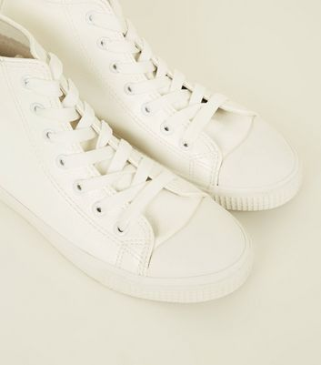White Leather-Look High Top Trainers