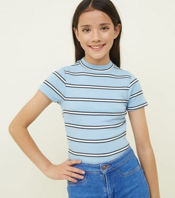 Girls Blue Stripe High Neck Fitted T-Shirt