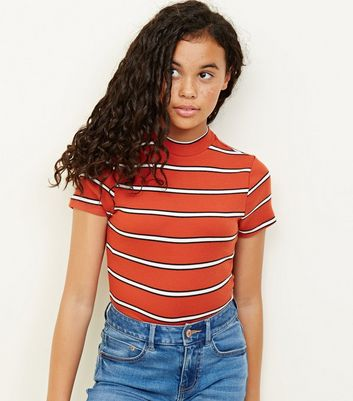 Girls Orange Stripe High Neck Fitted T-Shirt