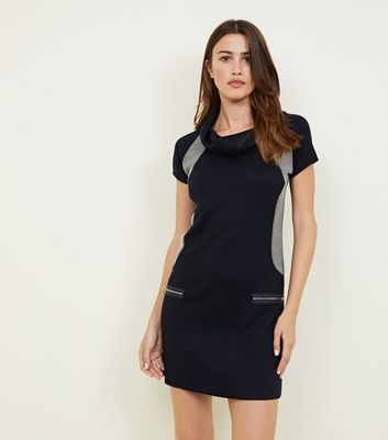 Mela Navy Contrast Cowl Neck Dress