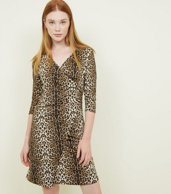 c84a89a4ae54 Mela Brown Leopard Print Wrap Front Dress | New Look