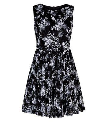 Mela Black Floral Print Lace Skater Dress New Look