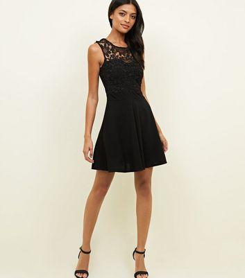Mela Black Lace Trim Skater Dress New Look
