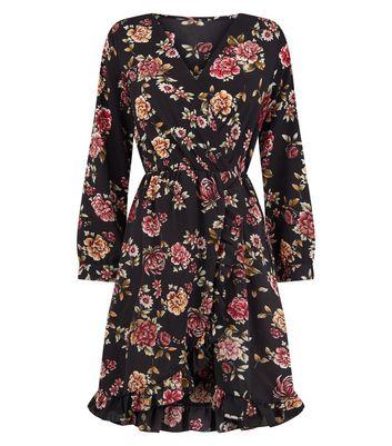 Mela Black Floral Frill Wrap Front Dress New Look