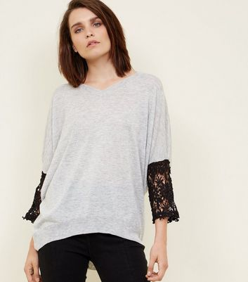 Mela Grey Lace Sleeve Jumper