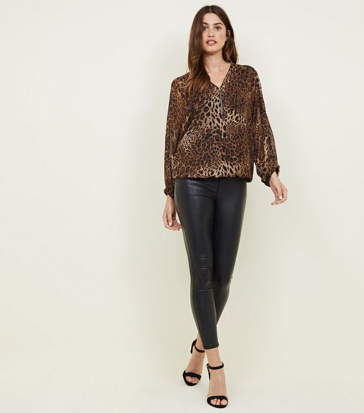 5cbe80ea3f68 ... Mela Brown Leopard Print Zip Top. ×. ×. ×. Shop the look