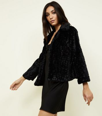 Mela Black Faux Fur Collared Jacket