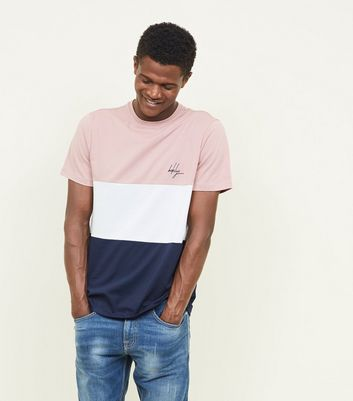 Pink Brkyln Embroidered Colour Block T-Shirt