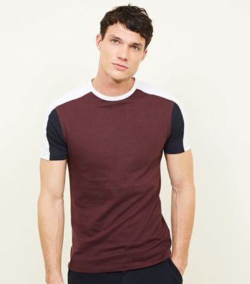 T-shirt Muscle Fit bordeaux color block