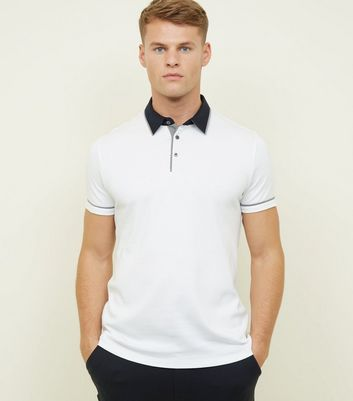 White Woven Trim Collar Polo Shirt