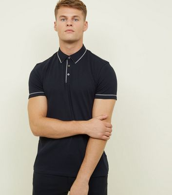 Navy Woven Trim Collar Polo Shirt