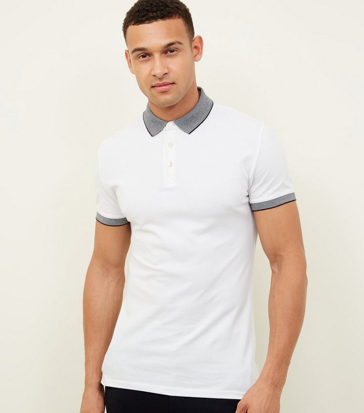f4ff97160 White Stripe Collar Muscle Fit Polo Shirt