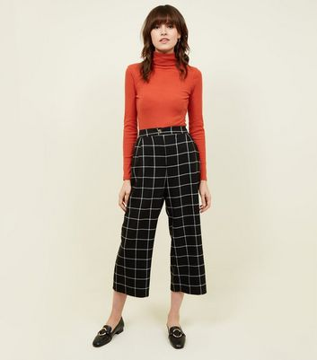 Black Grid Check Cropped Trousers