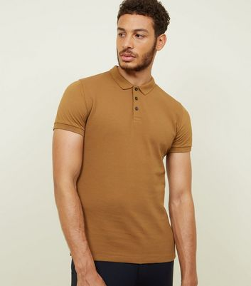 Camel Ribbed Polo Shirt