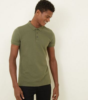 Green Ribbed Muscle Fit Polo Shirt