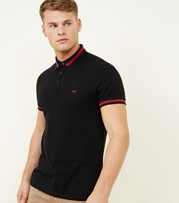 Black Stripe Collar Polo Shirt