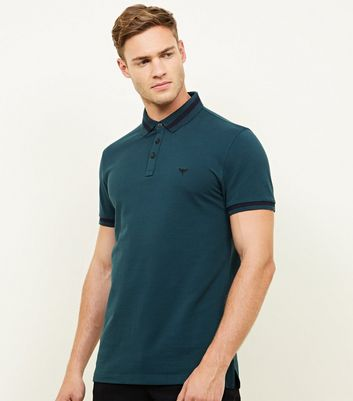 Teal Stripe Collar Polo Shirt