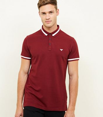 Dark Red Stripe Collar Polo Shirt