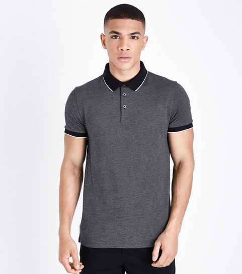 fc95e479e03fb ... Black Tipped Collar Jacquard Polo Shirt ...